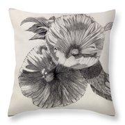 Hibiscus Sketch Throw Pillow