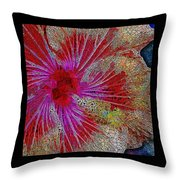 Hibiscus Stained Glass Throw Pillow