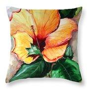 Hibiscus  Sunny Throw Pillow