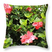 Hibiscus Tree Throw Pillow