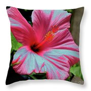 Hibiscus With A Solarize Effect Throw Pillow