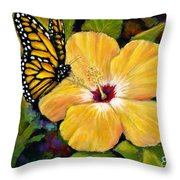 Hibiscus With Monarch Throw Pillow