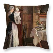 Hickory Dickory Dock  Throw Pillow by Edith Hopkins