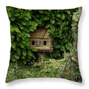 Hidden Birdhouse Throw Pillow