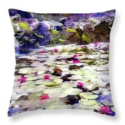 Hidden Pond Lotusland Throw Pillow
