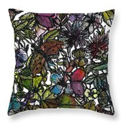 Hide And Seek In Wildflower Bushes Throw Pillow