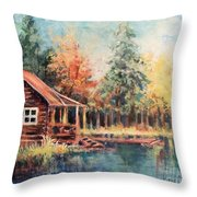 Hide Out Cabin Throw Pillow