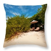 Hideaway. Maldivian Beach Throw Pillow by Jenny Rainbow