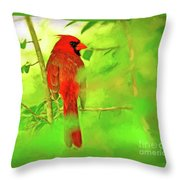 Hiding Behind The Leaves - Male Cardinal Art Throw Pillow
