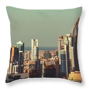 High-angle View Of Dubai's Towers At Sunset.  Throw Pillow