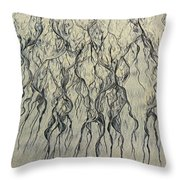 High Angle View Of Waves Create Throw Pillow