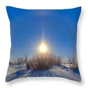 High Dynamic Range Photo Of Sundogs Throw Pillow