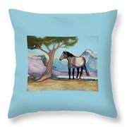 High Meadow Mustang Throw Pillow