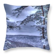 High Mountain Fence Throw Pillow