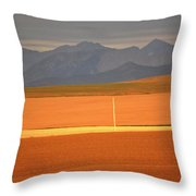 High Plains Of Alberta With Rocky Mountains In Distance Throw Pillow
