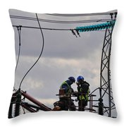 High Power Workers Throw Pillow