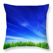 High Resolution Image Of Fresh Green Grass And Blue Sky Throw Pillow