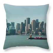 High Resolution Panoramic Of Downtown Boston During The Day Throw Pillow