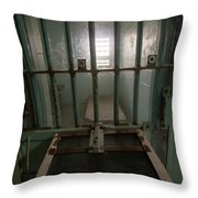 High Risk Solitary Confinement Cell In Prison Through Bars Throw Pillow