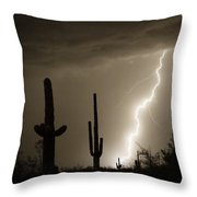 High Southwest Desert Lightning Strike Throw Pillow