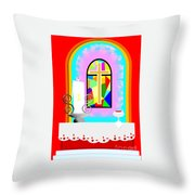 High Stained Glass Throw Pillow
