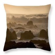High Surf At Asilomar Beach Throw Pillow