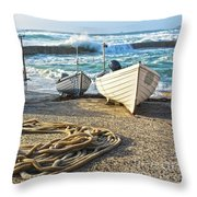 High Tide In Sennen Cove Cornwall Throw Pillow