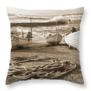 High Tide In Sennen Cove Sepia Throw Pillow