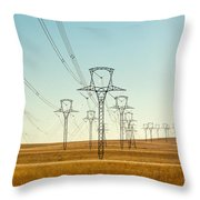 High Voltage Power Lines Throw Pillow