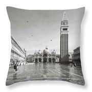 High Water In S.marco Square Throw Pillow