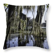 High Water On Blind River Throw Pillow