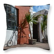 High Wheel Bicycle In Bermuda Throw Pillow