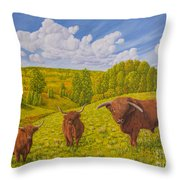 Highland Cattle Pasture Throw Pillow