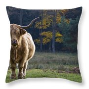 Highland Cow In France Throw Pillow