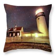 Highland Light Truro Massachusetts Cape Cod Starry Sky Shadow Throw Pillow