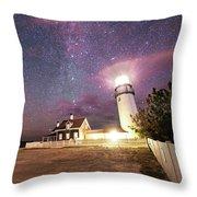 Highland Light Truro Massachusetts Cape Cod Starry Sky Shadow Yard Throw Pillow