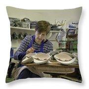 Highland Stoneware Artist At Work Throw Pillow