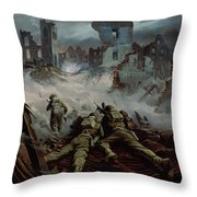 Highlanders Advancing To Caen Throw Pillow by Orville Norman Fisher