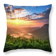 Highlands Sunrise - Whitesides Mountain In Highlands Nc Throw Pillow by Dave Allen