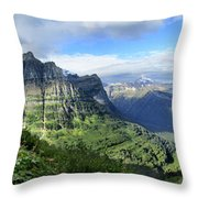 Highline Trail Overlooking Going To The Sun Road - Glacier National Park Throw Pillow