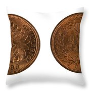 Highly Graded American Indian Head Cents On White Background  Throw Pillow