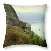 Highway 1 At Lucia South Of Big Sur Ca Throw Pillow