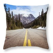 Highway 20 On Rainy Pass In North Cascades National Park Throw Pillow