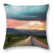 Highway 36 To Beautiful Boulder Colorado Throw Pillow