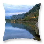 Highway Light Trails On Columbia River Gorge Throw Pillow