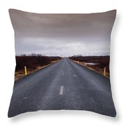 Highway Straight Road Leading To The Snowy Mountains Throw Pillow