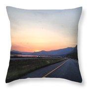 Highway Sunset Throw Pillow