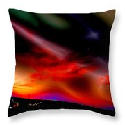 Highway Surreal Sunset Throw Pillow