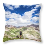 Hiker And Dog Throw Pillow