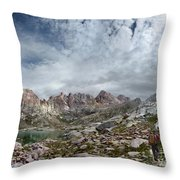Hiker At Twin Lakes - Chicago Basin - Weminuche Wilderness - Colorado Throw Pillow